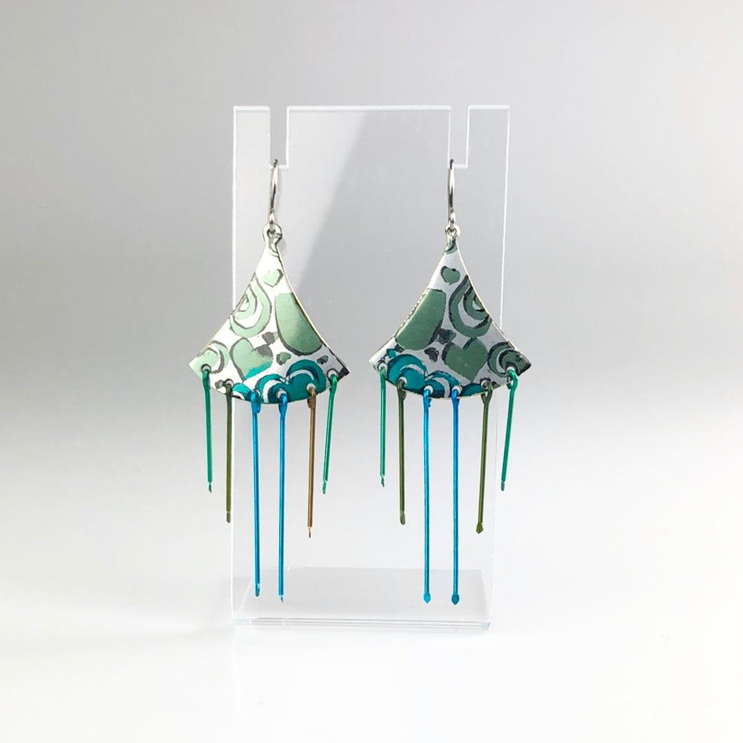 'Heart' Earrings in Green, Blue and Black