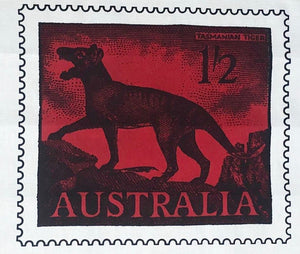 Tasmanian Tiger Postage Stamp Tea Towel