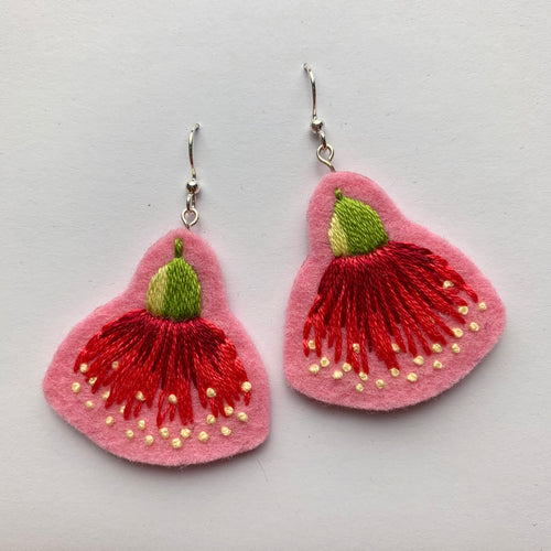 Large Eucalypt Blossom Earrings in Pretty in Pink