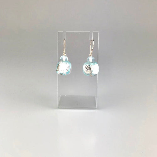 Recycled Banrock Station Glass with Silver Foil Earrings Light Blue