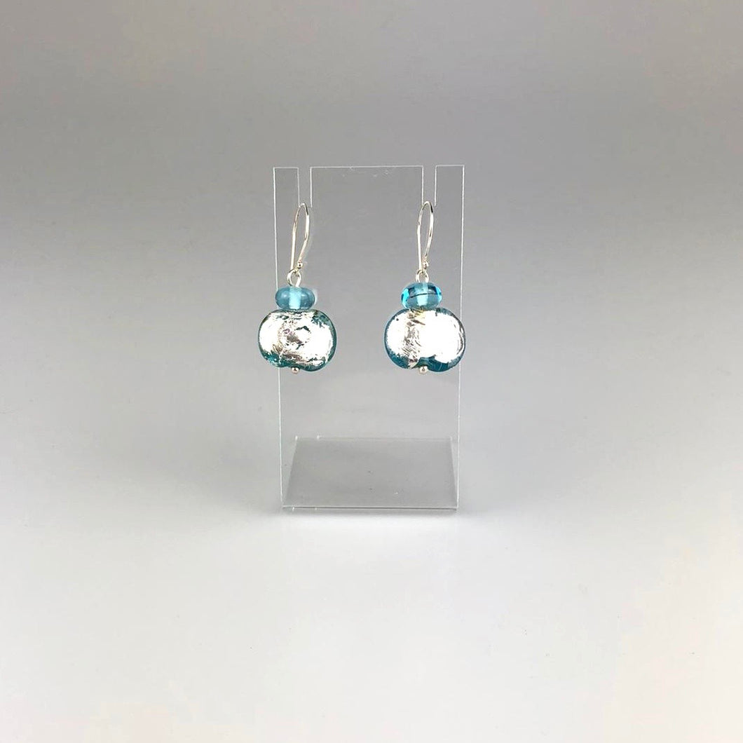 Recycled Banrock Station Glass with Silver Foil Earrings Blue