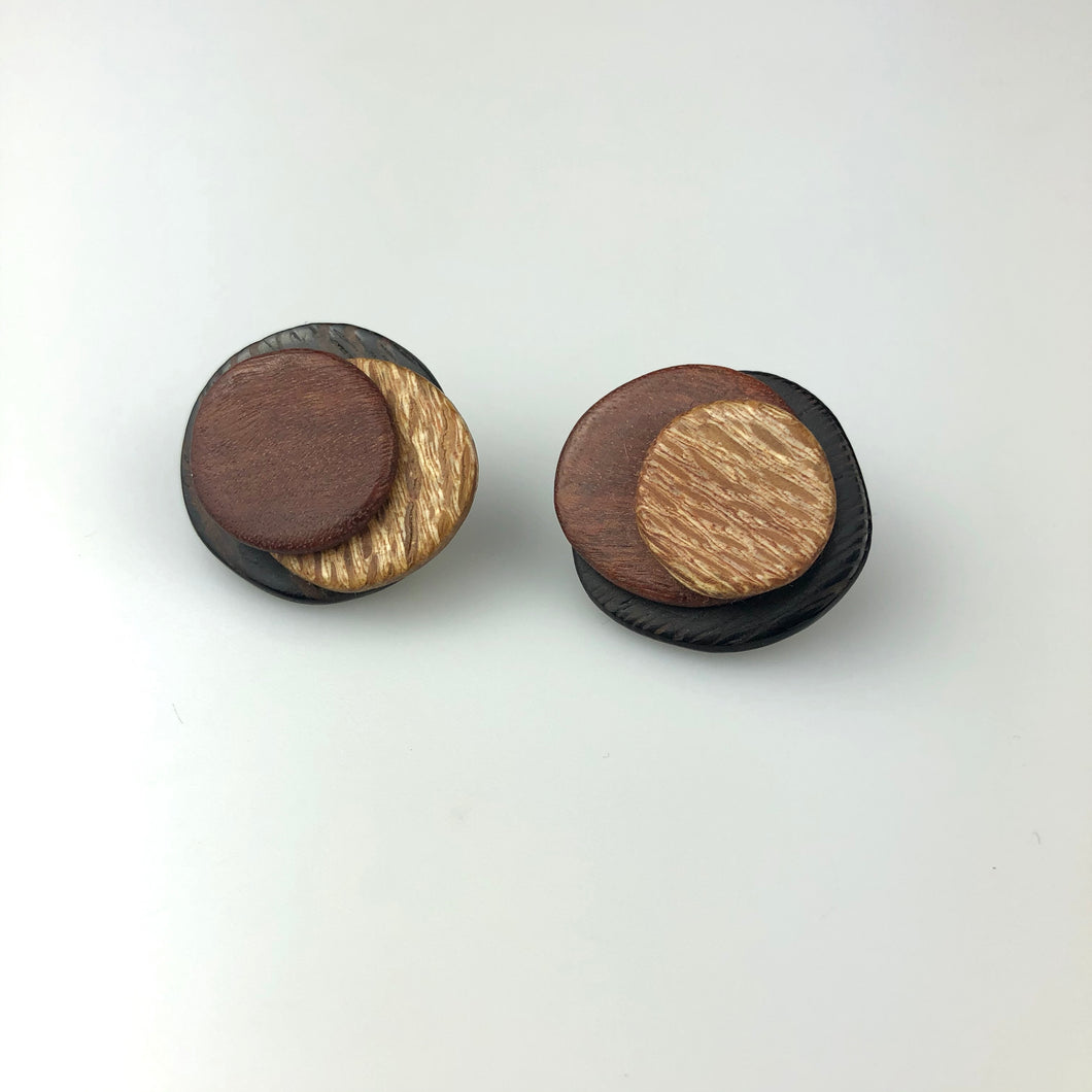 Three Toned Wooden Studs