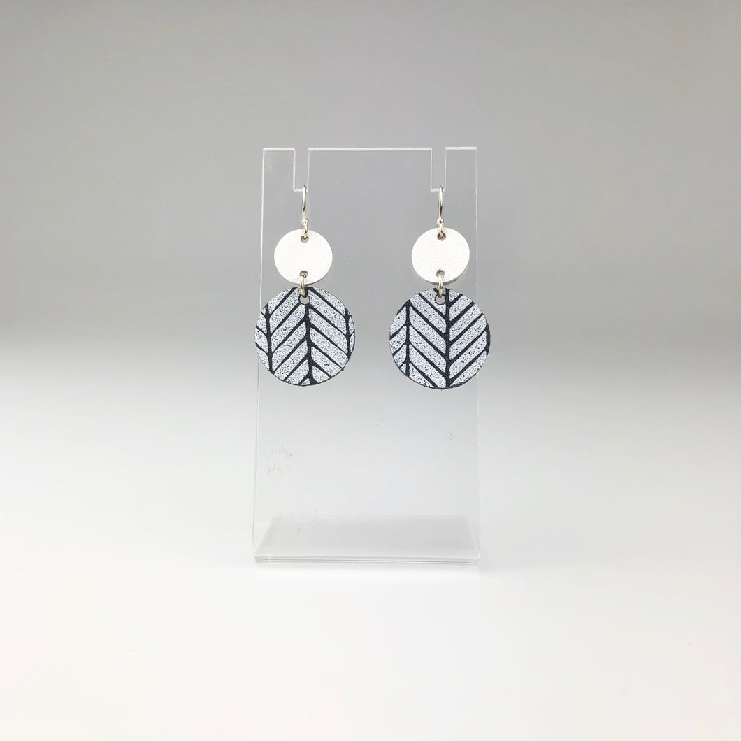 Black and White Feather Pattern Earrings