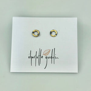 Cycle Studs in Oxidised Silver with Gold Leaf Small