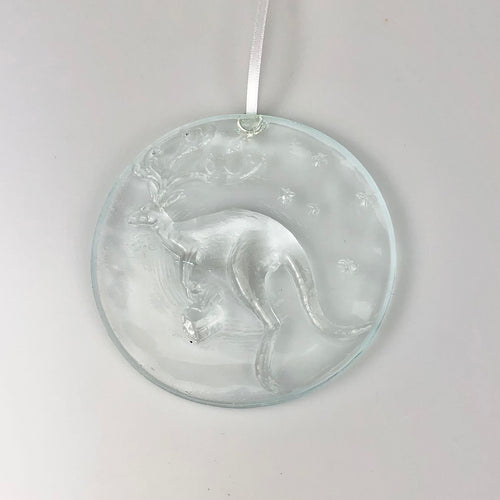 Glass Kangaroo Christmas Ornament