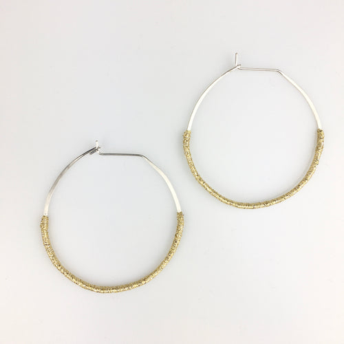 Woven Sterling Silver Hoop Earrings in Sparkly Gold