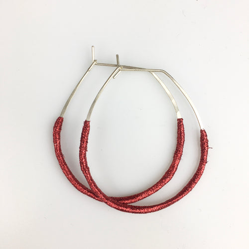 Woven Hoop Earrings in Sparkly Red