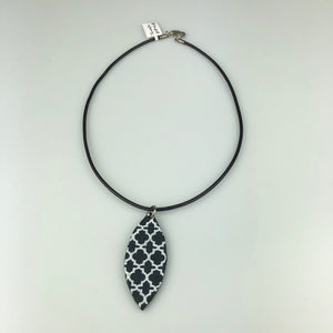 Black Leaf with Paint Pattern Necklace