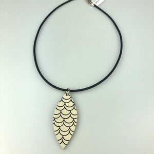 White Leaf with Paint Pattern Necklace
