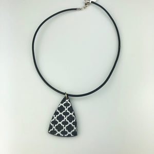 Black Triangle with Paint Pattern Necklace