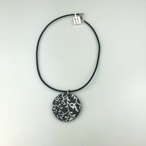 Black Round with Paint Pattern Necklace