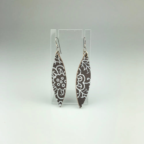 Leaf with Paint Pattern Earrings in Long Brown