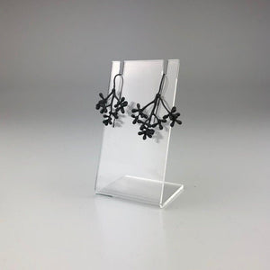 Gum Flower Earrings in Blackened Silver
