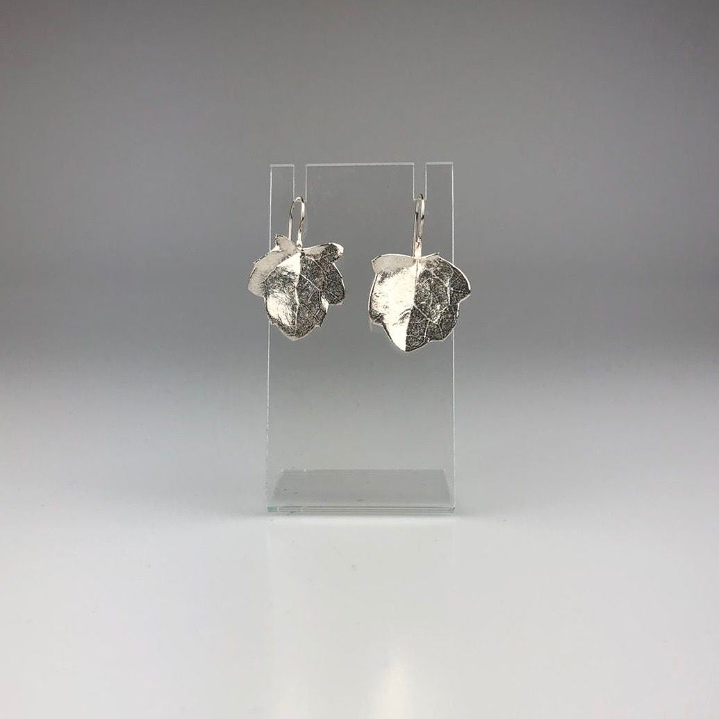 Native Leaf Hook Earrings in Silver