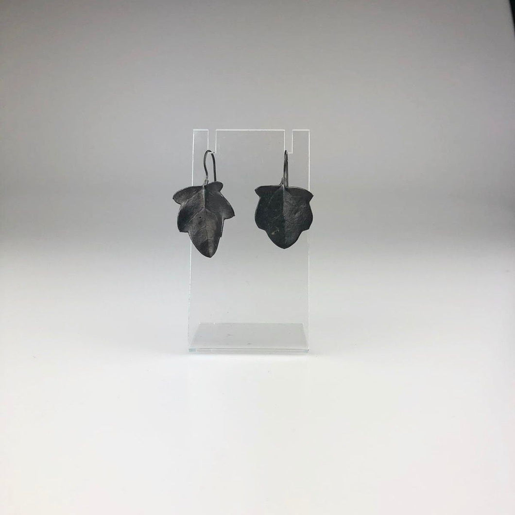 Native Leaf Hook Earrings in Blackened Silver