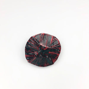 Enamelled and Folded Dish in Grey with Red Stripes