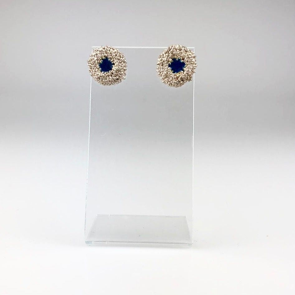 Silver Poppy Seed Stud Earrings with Blue Enamel