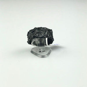 Botanical Imprint Ring in Blackened Silver