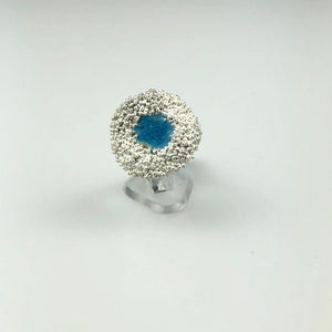 Poppy Seed Ring with Blue Enamel