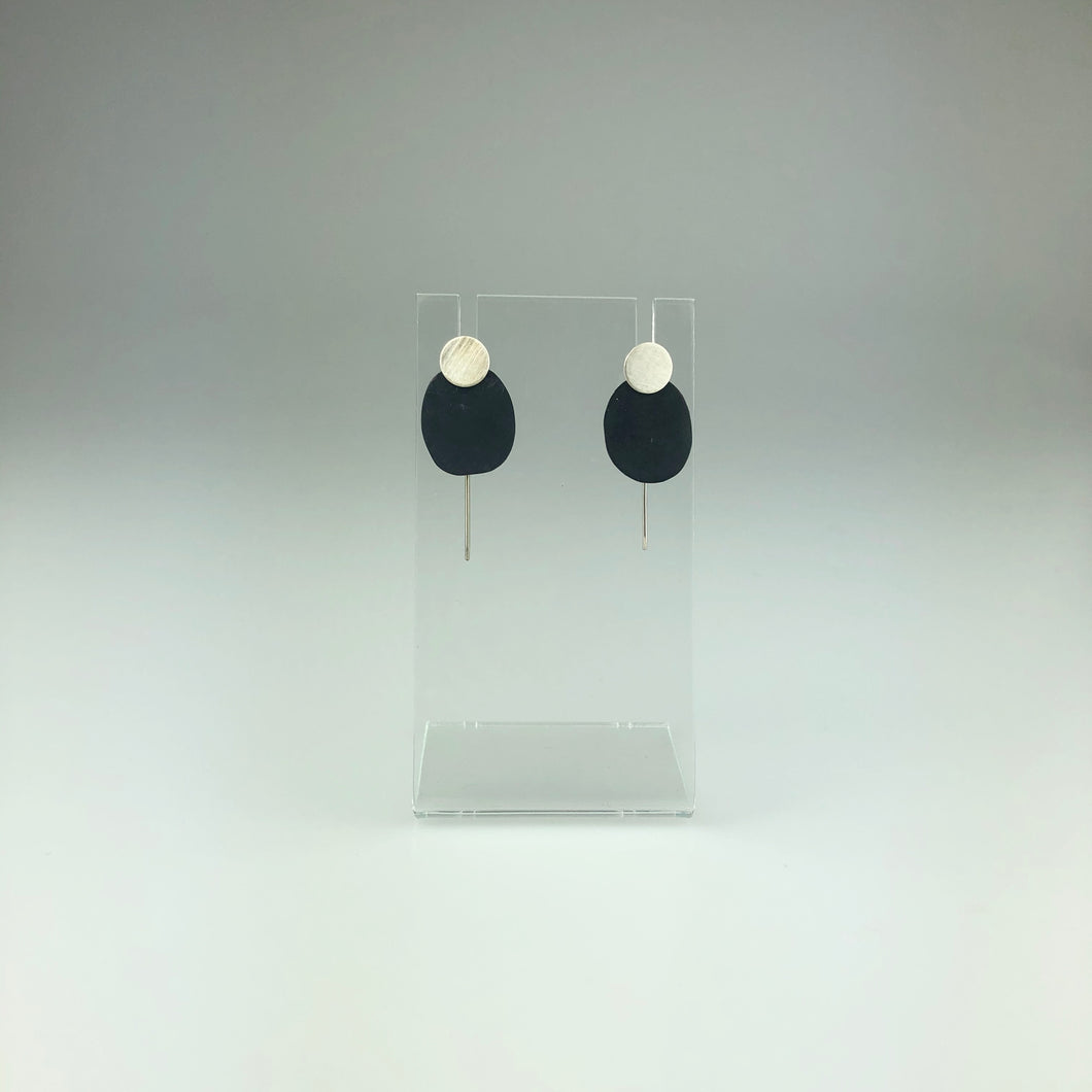 Two-Part Earring in Silver on Black - Mini
