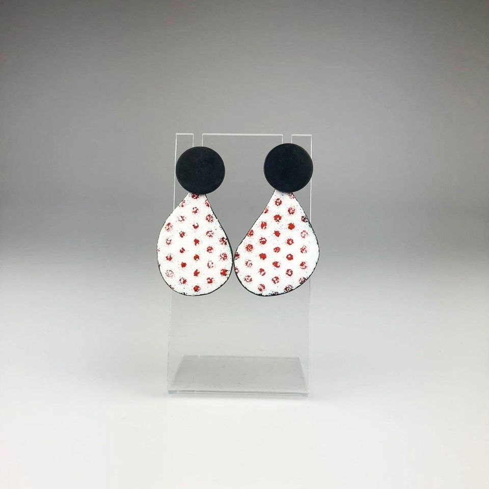 Abstract Earring in Spotty White