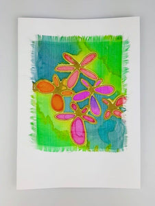'Four Flowers' Painted Silk Greeting Card