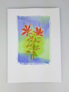 'Two Flowers' Painted Silk Greeting Card