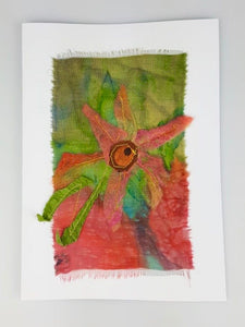 'Pink Flower' Painted Silk Greeting Card