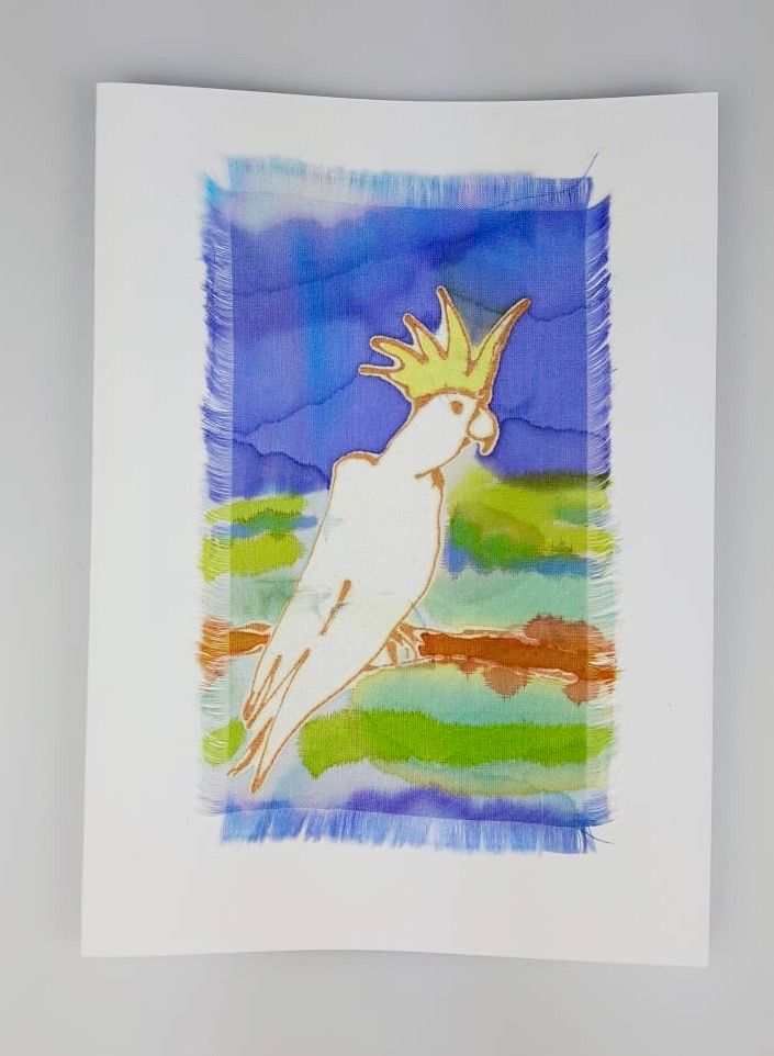'Cockatoo' Painted Silk Greeting Card