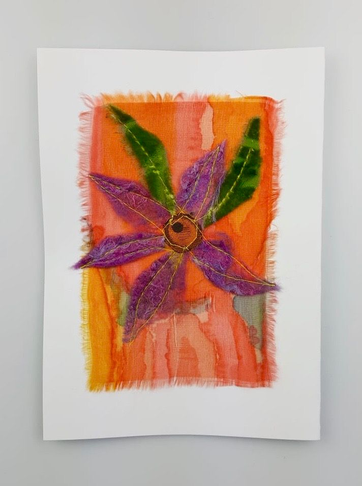 'Purple Flower' Painted Silk Greeting Card
