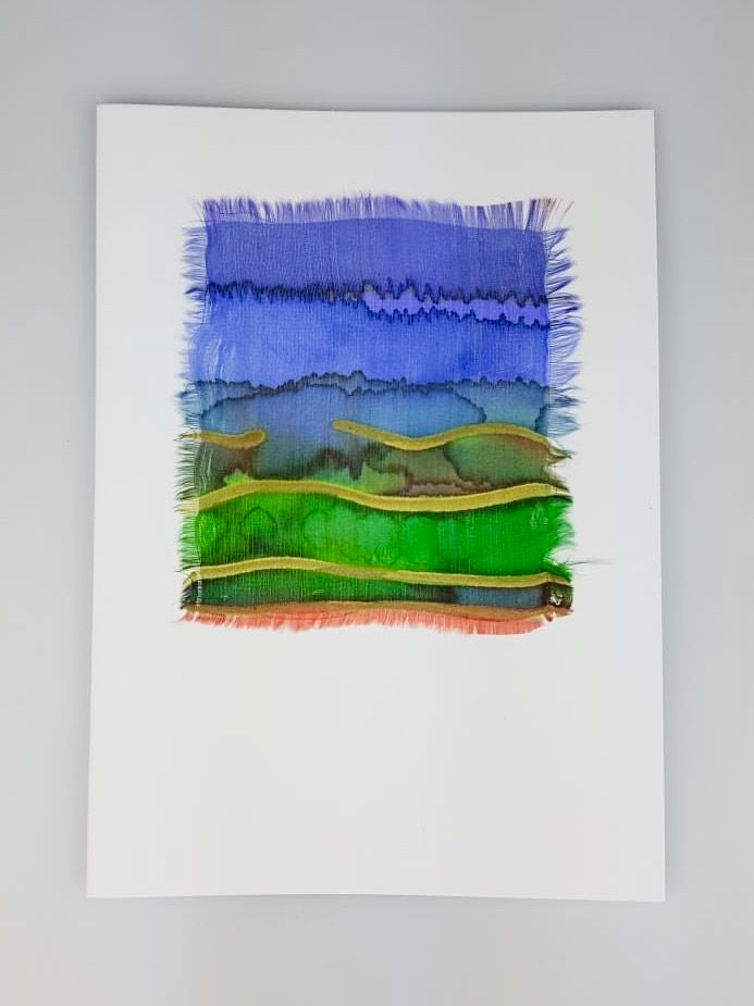 'Landscape' Painted Silk Greeting Card