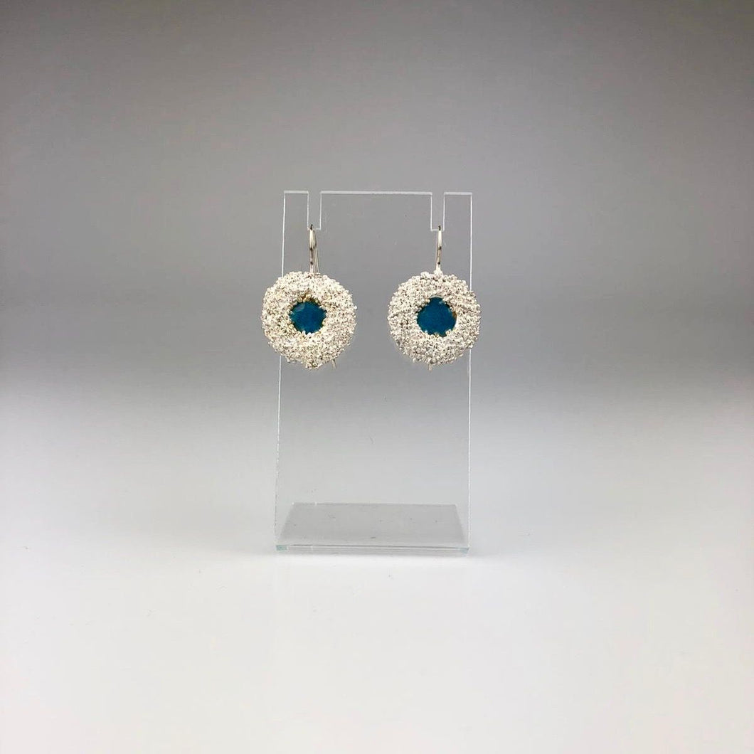 Silver Poppy Seed Hook Earring with Enamel in Blue