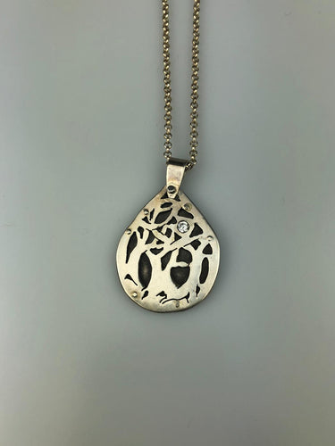 Silver Tree with Cubic Zircona Necklace