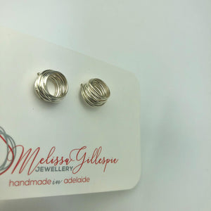 Silver Circle Stack Studs