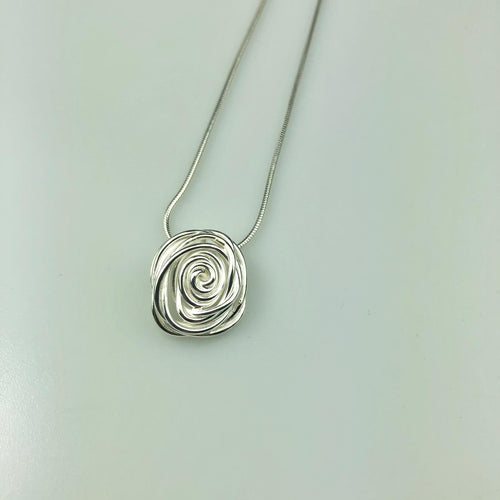 Silver Rose Pendant Necklace