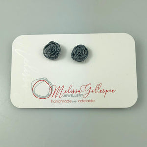 Oxidised Rose Studs Large