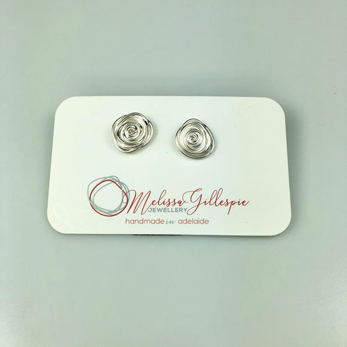 Large Silver Rose Studs