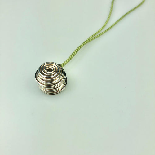 Silver Nest Necklace Green Silk