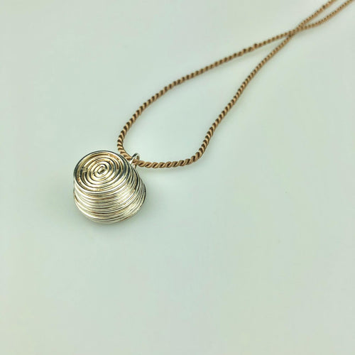 Silver Nest Necklace Tan Silk