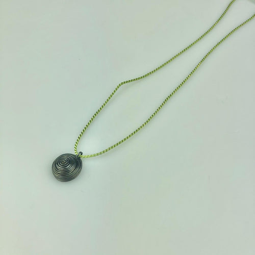 Oxidised Nest Necklace Green Silk