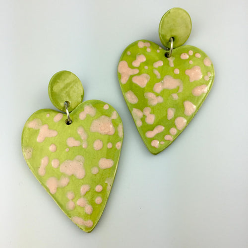 Light Green Heart Clay Earrings Large