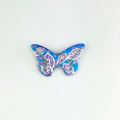 Butterfly Brooch in Blue and Purple