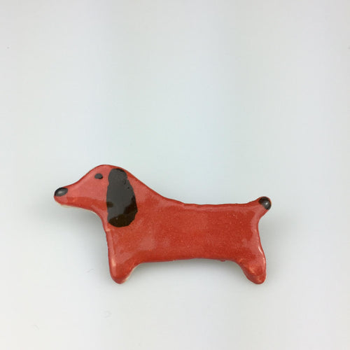 Red Brown Dog Clay Brooch