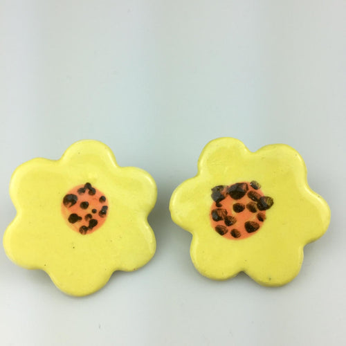 Yellow Flower Clay Studs