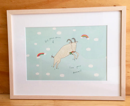 Framed 'Eat your greens and live your dreams!' Print