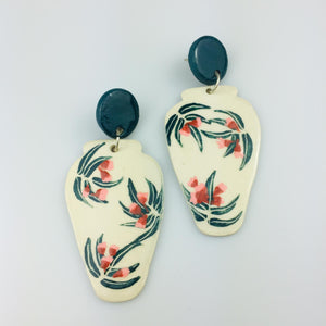Eucalyptus Round Vase Clay Earrings
