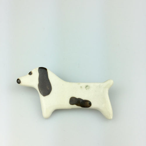 White Dog with Brown Spots Clay Brooch