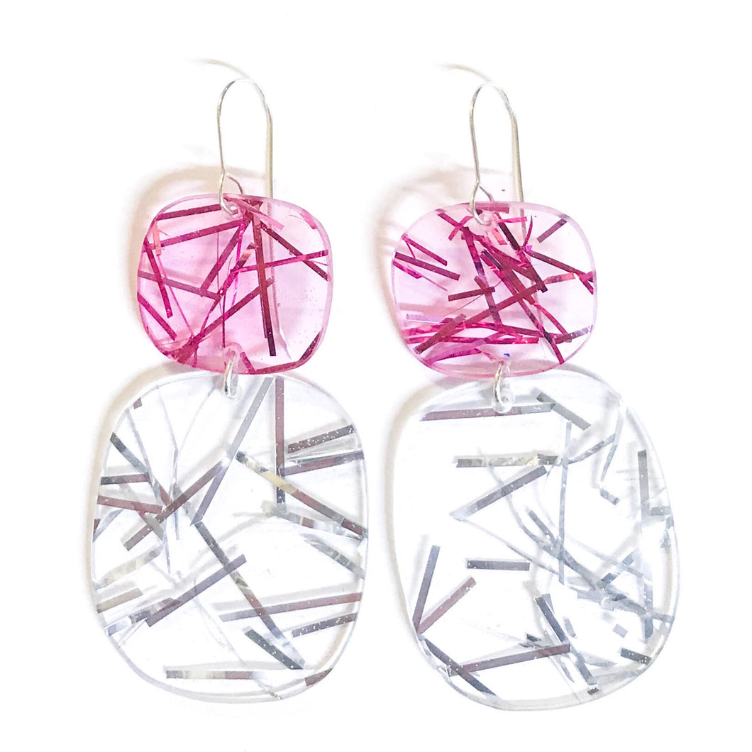 Double Tinsel Earrings in Pink on Silver