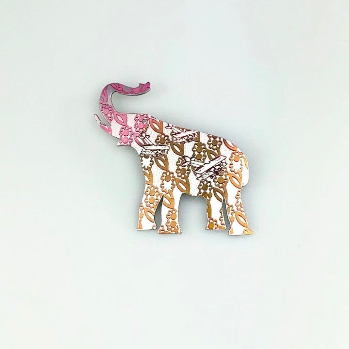 Elephant Brooch in Pink and Orange