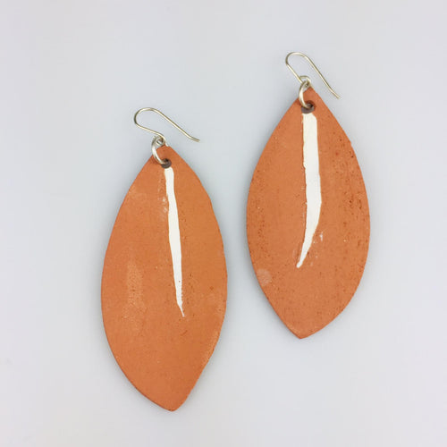 Terracotta Leaf Clay Earrings Large